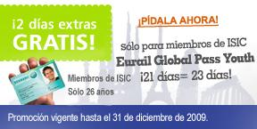 Días gratis por viajar en tren con Eurail Global Pass Youth